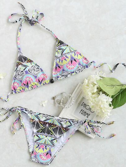 Multicolor stampati Side Tie triangolo Bikini