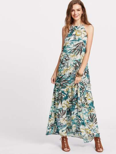 Tropical Print Tiered Halter Maxi Dress
