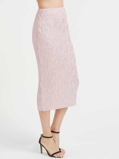 Elastic Waist Embossed Metallic Pencil Skirt