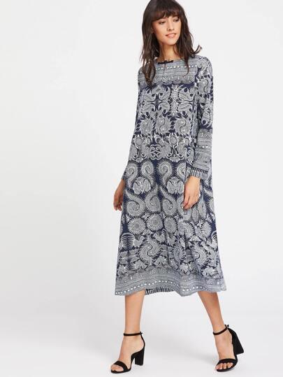 Vestido holgado con estampado de vintage