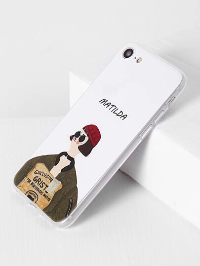 Funda para iphone 7 con estampado de chica - blanco