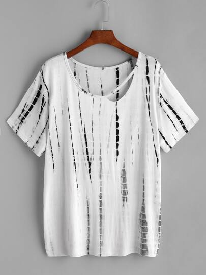 Tie Dye Cutout Neckline T-shirt