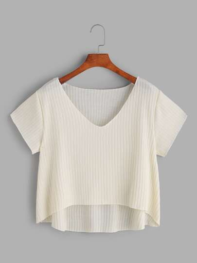 Apricot V Neck Dip Hem Knit T-shirt