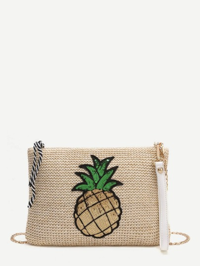 Ananas Patch Straw Crossbaody Tasche