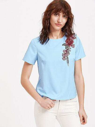 Rose Patch Buttoned Keyhole Back Short Sleeve Top