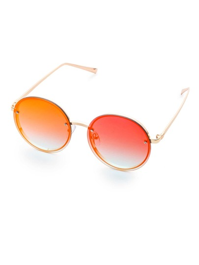 Gold Frame Flat Round Lens Sunglasses