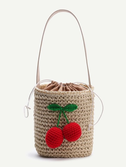 Beige Cherry Detail Straw Bucket Bag With Drawstring
