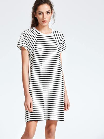 Striped Raglan Sleeve Tee Dress