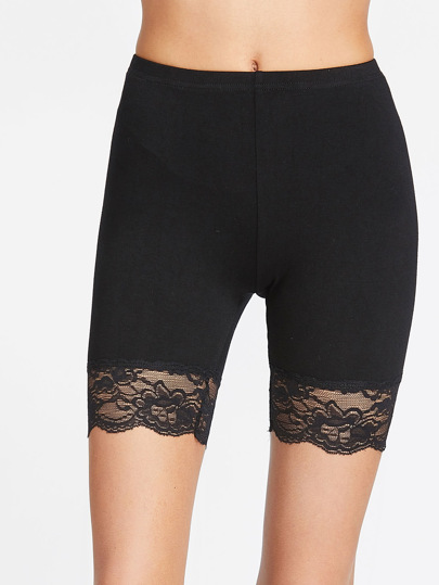 Http Es Shein Com Black Lace Trim Short Leggings P  Cat  Html