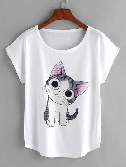 White Cat Print Dolman Sleeve T-shirt