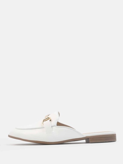 Faux Leather Loafer Flats WHITE