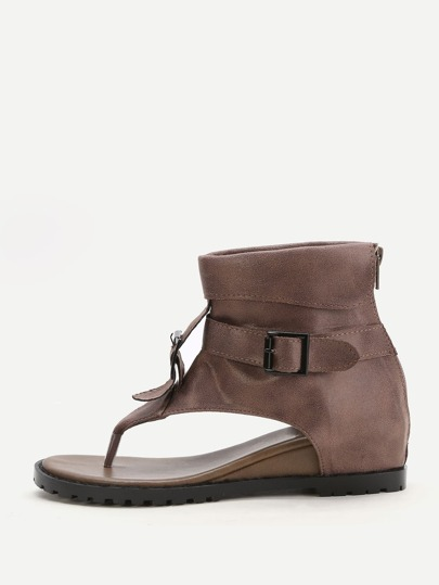 Coffee Toe Post Buckle Detail Sandals