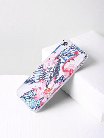 Cover per iphone 7 con stampa di fiore e foglia