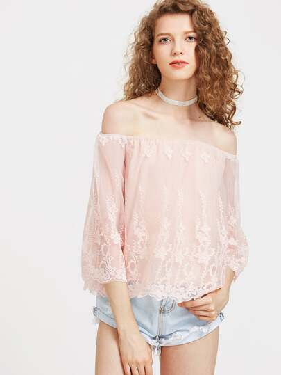 Off Shoulder Embroidered Mesh Overlay Top