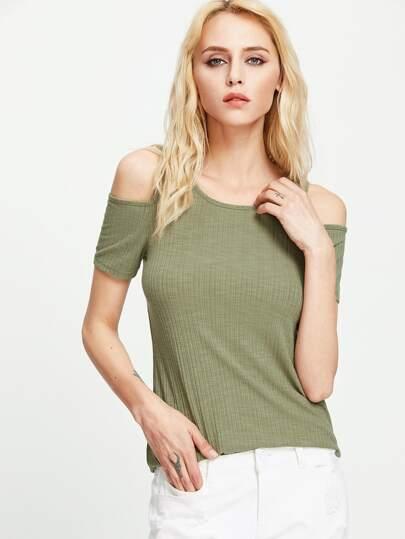 Open Shoulder Rib Knit T-shirt