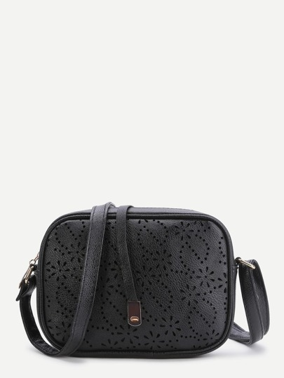 Black Laser Cut Out Vintage Shoulder Bag