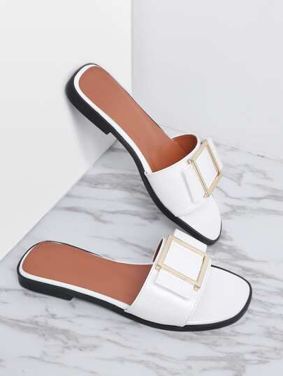 White Metal Detail Patent Leather Slider Sandals