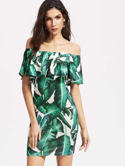 Green Tropical Print Ruffle Off The Shoulder Bodycon Dress