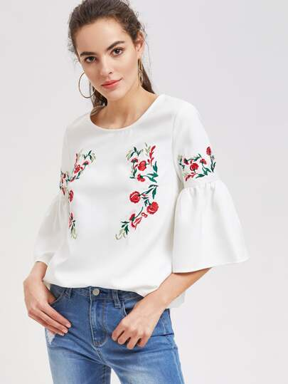 Flower Embroidered Fluted Sleeve Top