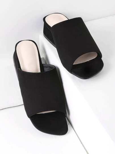 Open Toe Chunky Heeled Sliders