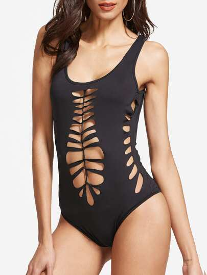 Black Double Scoop Knotted Cutout Bodysuit