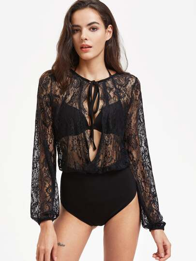 Tied Open Front Sheer Floral Lace Blouse Bodysuit