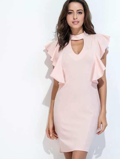 Pink Cut Out Ruffle Trim Slit Back Dress