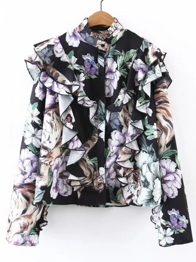 Floral Print Exaggerated Frill Blouse