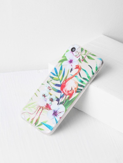 Flamingo And Leaf Print Clear iPhone 7 Case