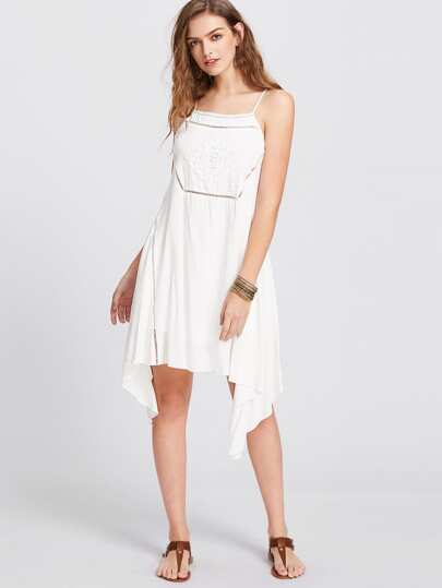 Lace Insert And Applique Handkerchief Hem Cami Dress