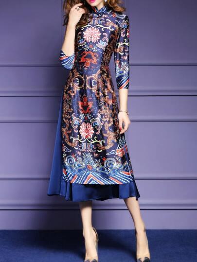 Multicolor Vintage Print Split Long Dress