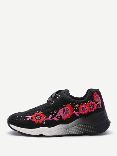 Black Floral Embroidery Lace Up Sneakers