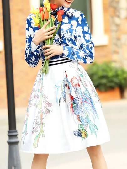Blue Tie Neck Top With Print Skirt