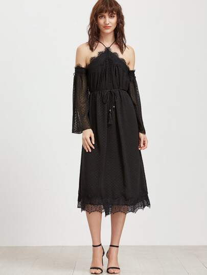 Black Polka Dot Jacquard Lace Trim Cold Shoulder Dress