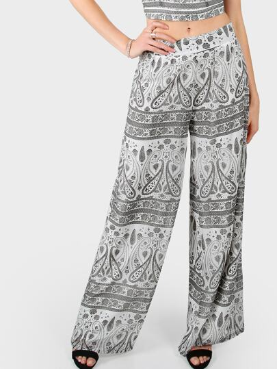 Paisley Wide Leg Chiffon Pants WHITE