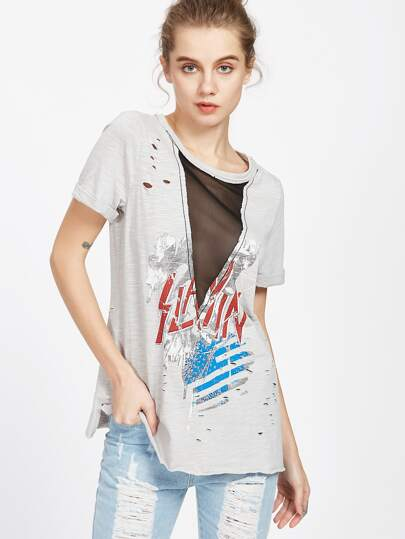 Graphic Print V Mesh Insert Distressed Slub T-shirt