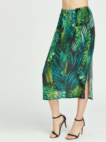 Jupe latérale à imprimé tropical vert