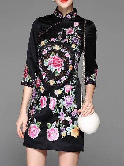 Black Flowers Embroidered Sheath Dress