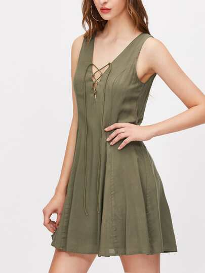 Lace Up Plunge Neck Low V Back Swing Dress
