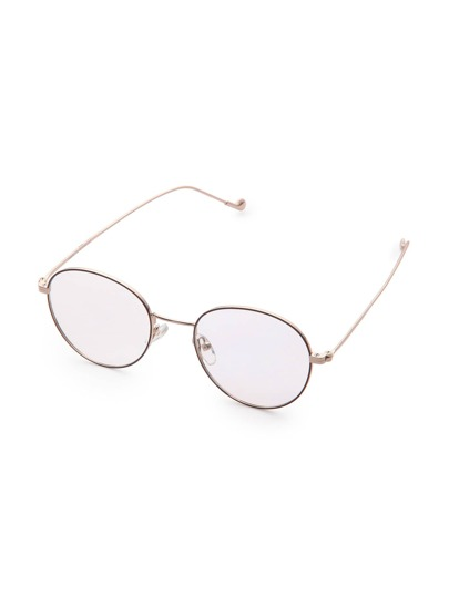 Metal Frame Round And Flat Vintage Glasses