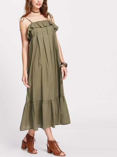 Tie Strap Frill Trim Pleated Dress