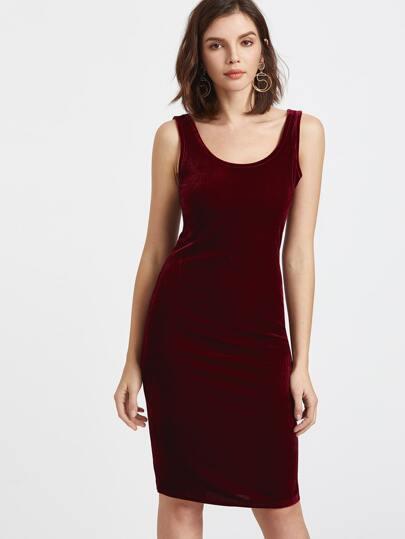 Burgundy Velvet Tank Dress