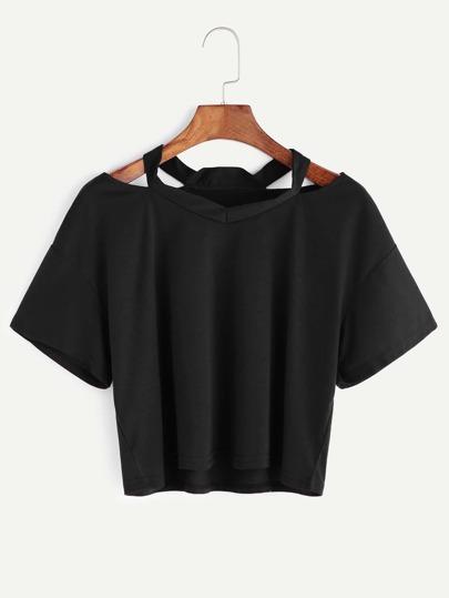 T-shirt son cut-out sullo scollo , nero