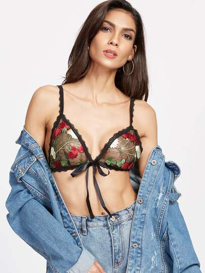 Bow Front Triangle Embroidered Mesh Bralet