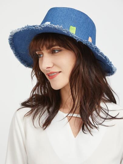 Sombrero en denim con diseño de ribete deshilachado - azul