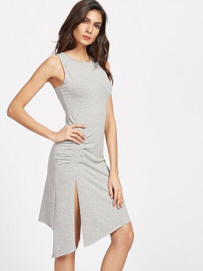 Grey Ruched Detail Split Side Asymmetrical Dress