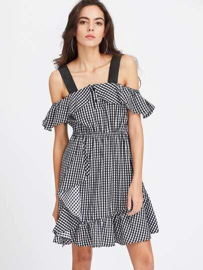 Schulter-Rüschen-Kleid - schwarz weiß