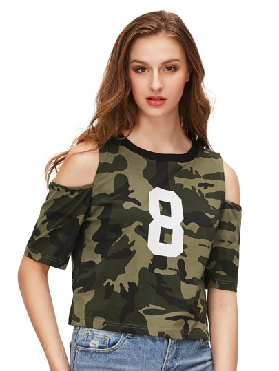 Camo Number Print Open Shoulder T-shirt