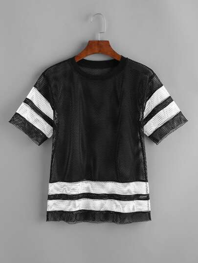Contrast Varsity Striped Sheer Fishnet T-shirt