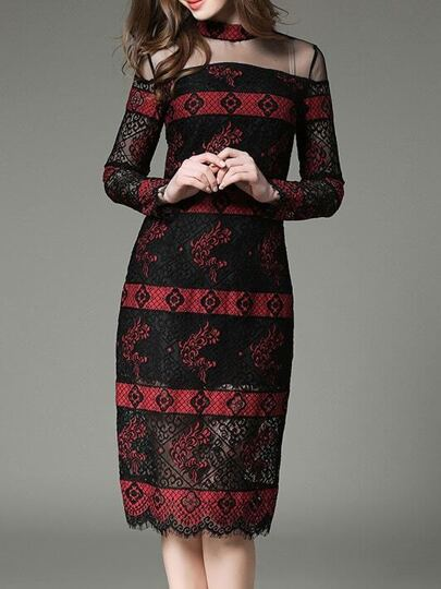 Black Sheer Contrast Red Lace Dress